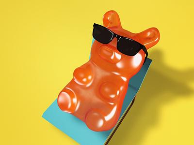Gummy Bear - Sunbathing design bear gummy 3d