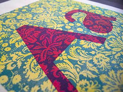 Aa helvetica silkscreen printing fabriano magenta damask