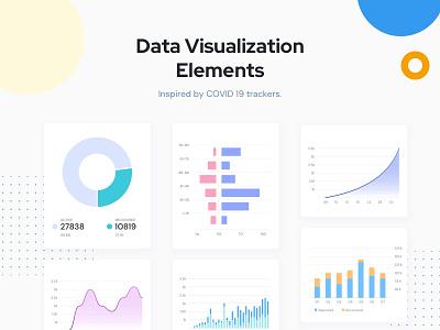 Data Visualization Elements web design mobile ux ui ui  ux design graphs charts visualization ui elements ui element ui kit