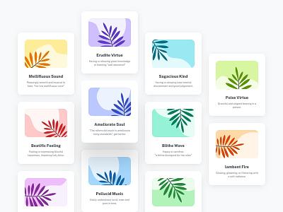 Card Thumbnails | UI Elements Exploration brand identity design brand identity color palettes color palette graphic design minimal ui mobile ui ui kit ui palettes web ui