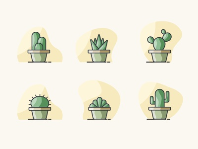 Indoor Plants indoor plants indoor plant cactus illustraion icons icon