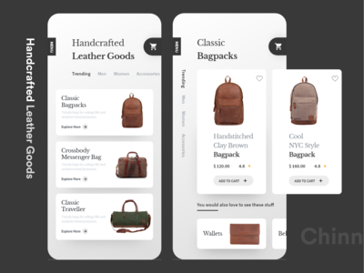 Handcrafted Leather Bag E-Commerce Interaction
