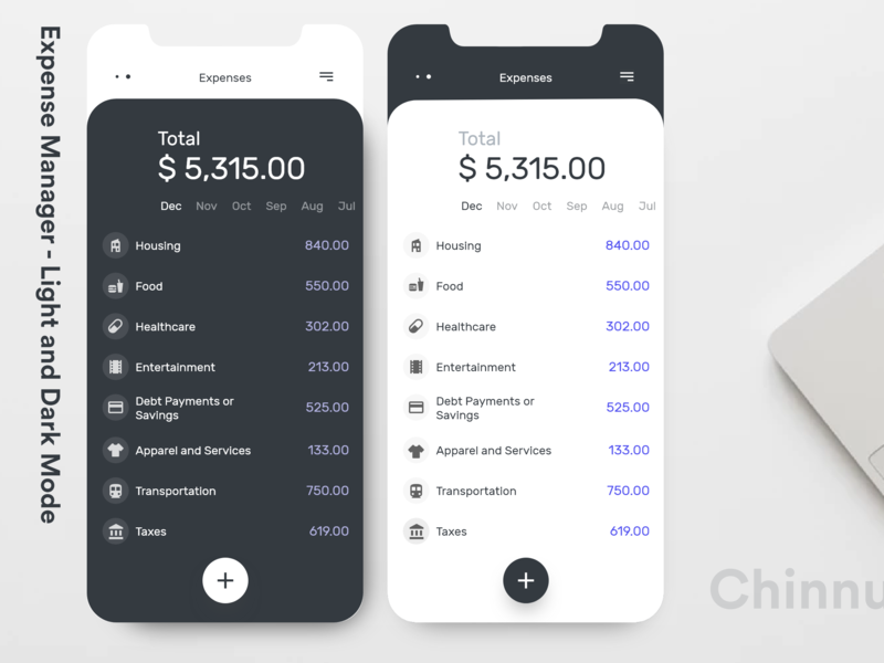 Expense Manager - Light and Dark Mode light ui dark ui expense manager typography adobexd minimal interaction design interaction ux ui