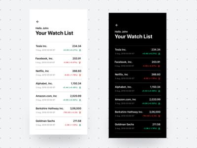 Stocks Market App - A Design Concept