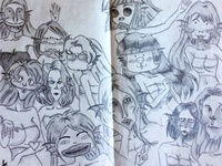anime characters doodle