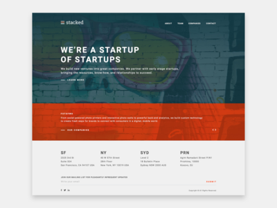 Stacked website - Home page