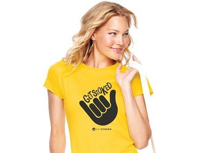 Get Stoked T-Shirt design branding graphics fun lettering type logo yellow girl travel stoked t-shirt