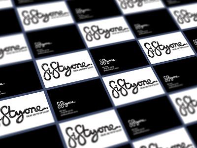 fiftyone Business Card typeface marketing graphic design art australia sydney pop-up white black logo gallery business card