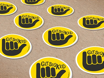 Get Stoked Stickers print font designers graphics sign hand logo branding free stickers travel stoked