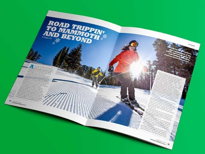 Out & About With Kids ski spread typography reading plane magazine lettering indesign ski holiday design australia