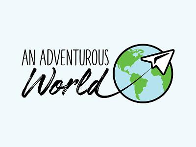Adventurous World Logo videographer blog travel mobile logo identity graphic design branding