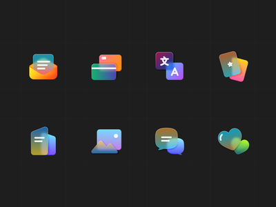 frosted glass icons pt2 gradient icons frosted glass ui design color