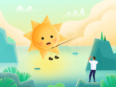 Oops, look who is here? illustration people sun fishing