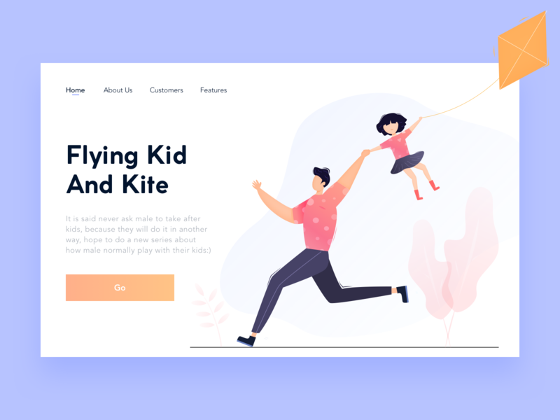 Flying Kid And Kite running flying kite father and daughter people design color ui illustration