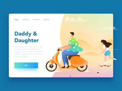 Daddy And Daughter skateboard motor vector girl father and daughter people design ui color illustration