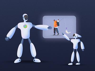 The R elationship explore father and son robots robot color design ui illustration