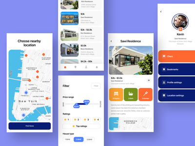 Real estate app location profile color ratings slider filter ui concept grid room region map icons rent home house real estate realestate booking app
