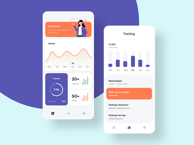 Task management app icons grid colors analytics chart analytics page concept app ui clean minimal design