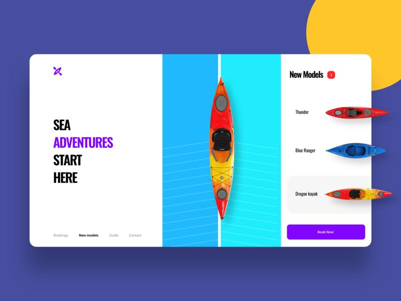 Kayak booking UI landing typography app page landing page concept colors design minimal clean booking kayak ux ui
