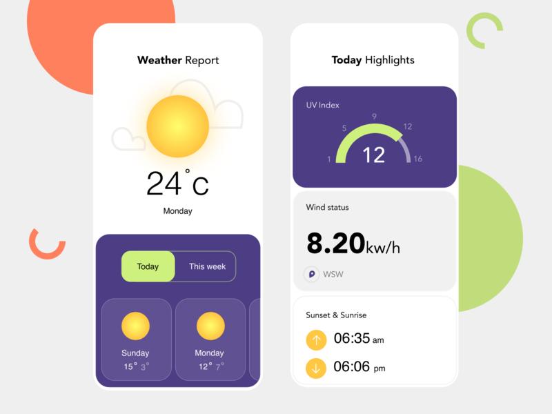 Weather app designs clean simple branding app minimal screen page concept colors ux ui card location weather app weather design