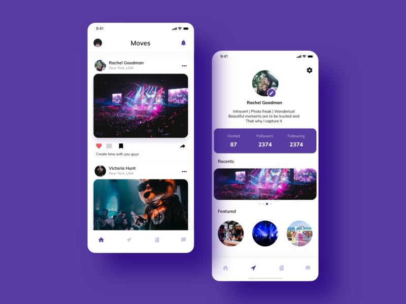 Social media app screen home screen appdesign ux ui color clean design minimal concept app profile card images