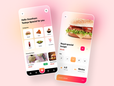 Food app concept clean simple illustration minimalist branding ios cart search style buttons cards app food ux ui colors minimal design
