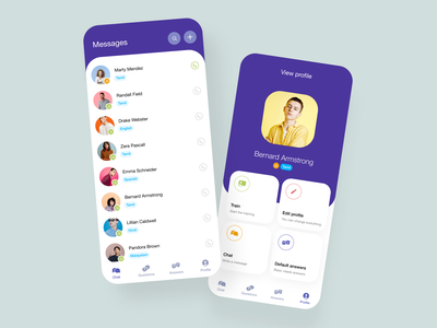 Chat app concept modern design branding colors typography icons ui app design app screen profile text chat bot chat minimal design