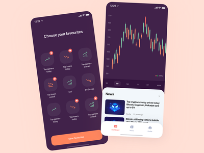 Crypto app favourite design ux clean minimal filter buttons branding icons line chart card colors chart trading trading app bitcoin cryptocoin crypto ui