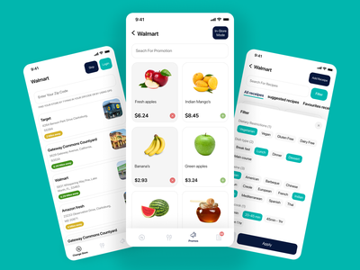 Grocery app food app vegitable white android ios clean concept minimal design button tags cards minimal color popup filter fruits grocery ux ui