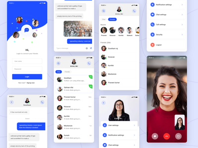 Messenger Redesign settings login video call app dashboard design illustration landing layout page minimal gif chat ui messanger app concept concept redesign facebook app animation