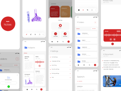 Rapid notes app grid android ios tools screen page clean search concept minimal ux ui settings draw text notes voice folder design app