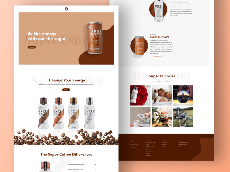 Super coffee landing page concept typography marketing animation dashboard fresh design ux ui product website clean simple header slider minimal design homepage landingpage landing page coffee