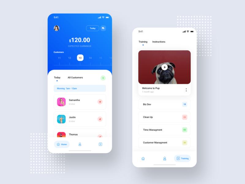 Puppy app app design profile colors illustration booking app home page landingpage mobile app animation blue grid menu clean simple minimal ux design ui app dog