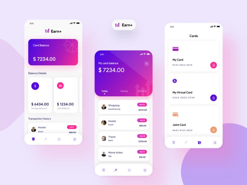 Earn+ app concept page concept animation layout ux ui money management clean dashboard money transfer money app design colors gradient minimal money application