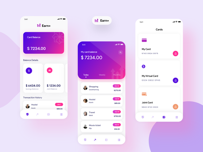 Earn+ app concept page concept animation layout ux ui money management clean dashboard money transfer money app design colors gradient minimal money application