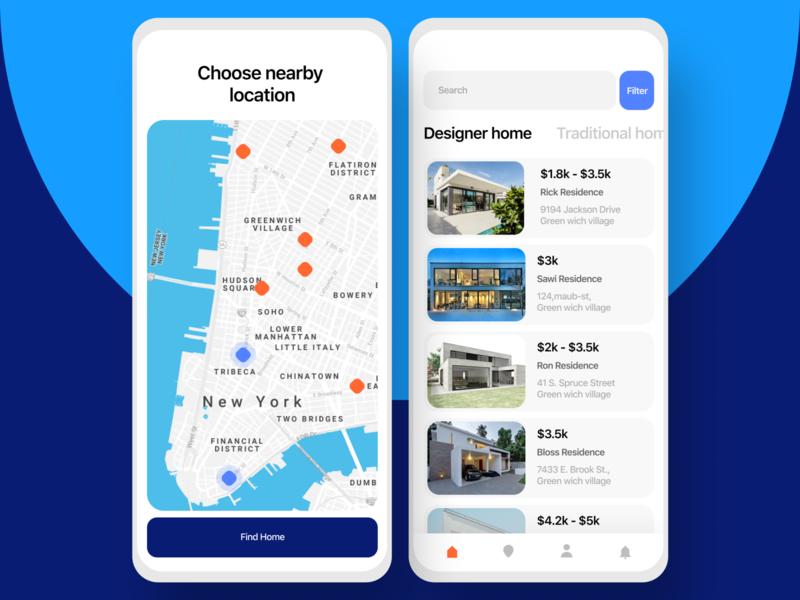 Home app android app ios app screen search minimalist minimal clean template website design app landing ux ui graphics figma estate design concept booking animation