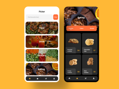 Picker app screen page food app food black clean grid effect landing page website list order mobile ios illustration design icons cards business animation