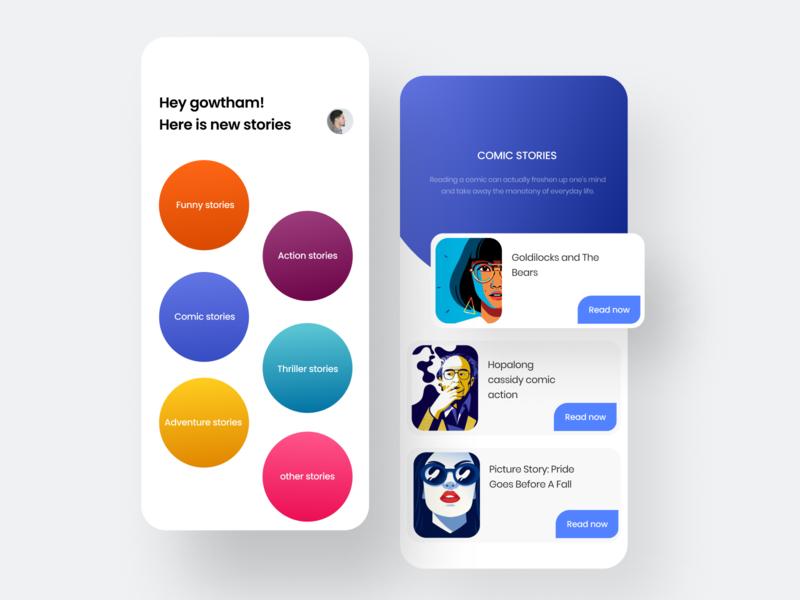 Stories app android colorful concept art clean minimalism minimalist screens profile design illustration ui app card gradient circle colors book stories concept minimal