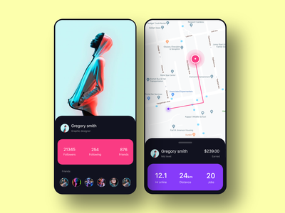 Health app concept count tracking health landing page app ui clean design minimal colors rounded corner color screen friends profile gps map