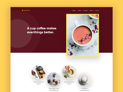 Coffee world shapes inspiration minimal images color concept coffee landing page