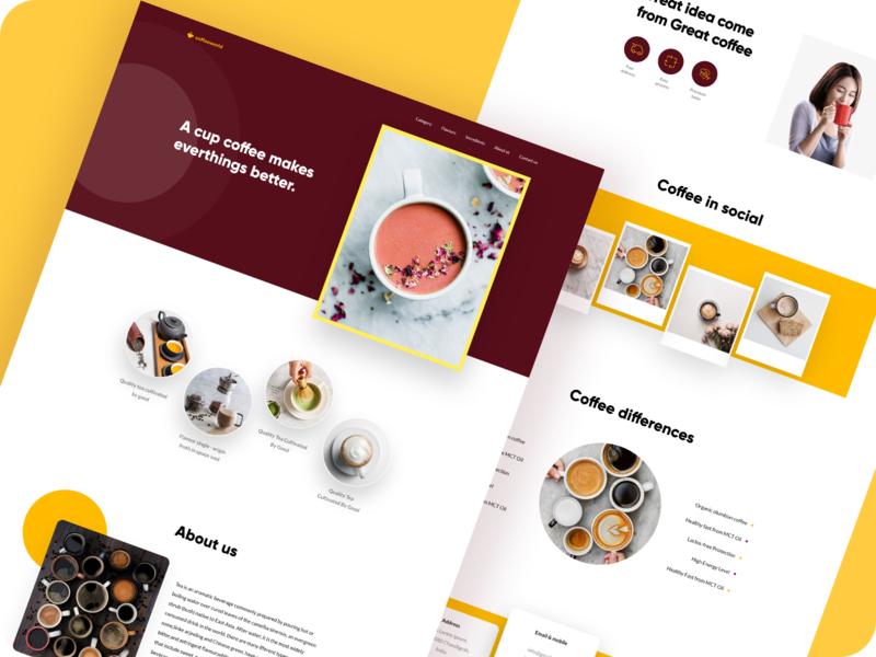 Coffee world landing page visual design ui instagram socialmedia shape minimal landing page image footerstyle design concept clean coffee