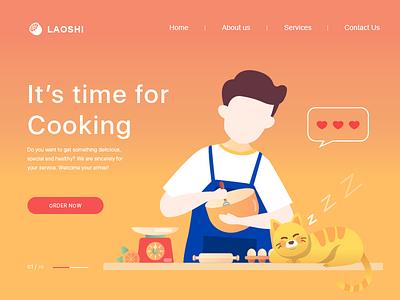 Cooking time design web ui illustration