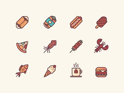 Food icons icon design ui illustration