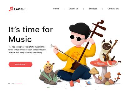 Music time design web ui illustration