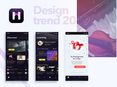 Classical Music UI logo mobile learning app subscription behance dribbble user interface violin milan learning trend minimal ux ui  ux ui art classical music classical music 2019 trend 2019