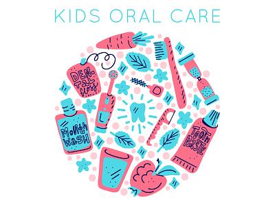 Kids Oral Care hygiene kid oral care web ux ui design vector minimal illustration flat