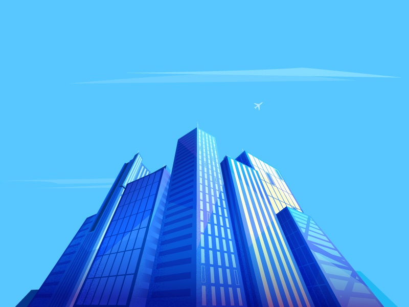 Skyscraper flat lines modern business skyline building illustration design sky
