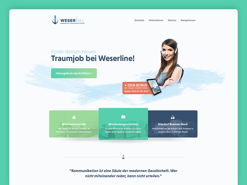 Webdesign for a german callcenter green light front frontpage homepage webseite website headset phone center call callcenter