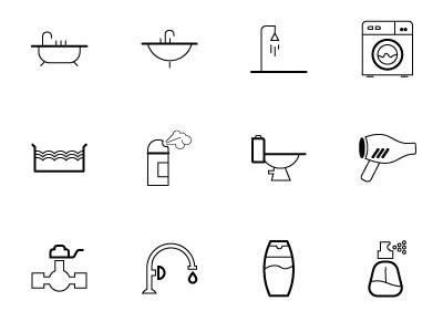 Download 21 Free Home Appliances Vector Icons bathtub basin shower wash machine hand towel toilet paper siphon trap spray water closet blow drier mirror water gauge