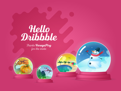 Hello Dribbble illustration winter summer spring autumn snow globe hello dribbble seasons
